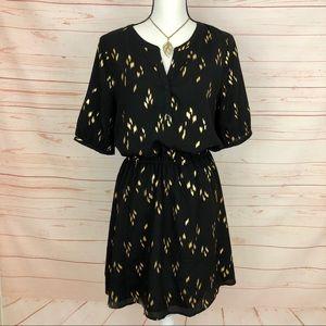 Brixon Ivy Black & Gold Midi Dress